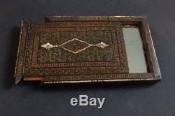 19th C Rare Persian Ancient Islamic Khatam-kari Box Mirror Qajar Qalamdan