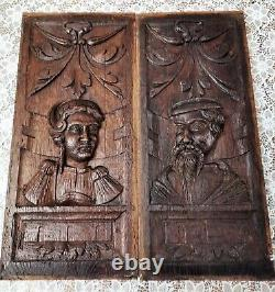2 17th Panels In Carved Oak Representing Man And Woman
