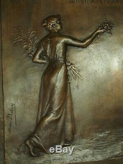320mm / 250mm Large Bronze Plaque Original Art Nouveau Henri Dubois 1908 Paris