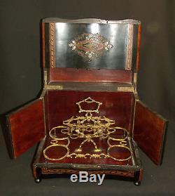 A Napoleon III Cellar Liqueur Box Old Precious Pearl Marquetry Boulle