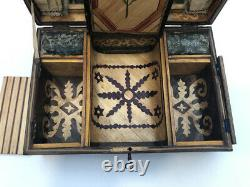 Ancien Box Box A Jewellery Wood Marquetry Of Paille