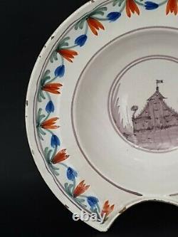 Ancient Beard Dish In Regional Faience XIX Th S, Castle Decoration
