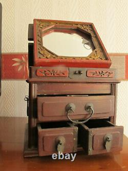 Ancient Chinese Jewellery Wooden Box With Courtesy Mirror