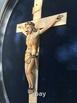 Ancient Christ In Cross 19th Napoleon III Crucifix On Period Frame