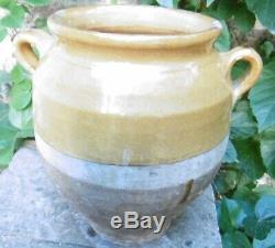 Ancient Confit Pot Pottery Provencal Yellow Glaze