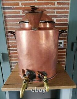 Ancient Copper Water Heater With Brass Taps, 19th Century