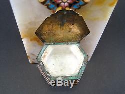 Ancient Great Holy Watermelon Bronze Enamel Cloisonné Champlevé On Marble Devotion XIX