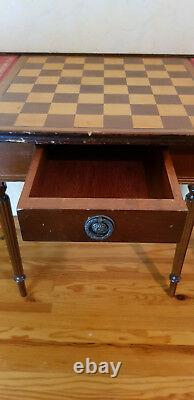 Ancient Little Game Table With Its Two Stools