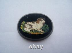 Ancient Micro Mosaique Dog Spaniel Dog Onyx Micromosaic Mosaic Micromosaico