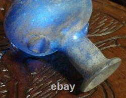 Ancient Roman Bottle In Blue Blown Glass, More Than 1800 Years Old