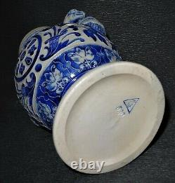 Ancient Westerwald (german Stoneware) Zoomorphic Blue Vase 19th