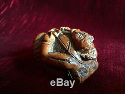 Anthropomorphic Snuffbox In Corozo Walnut Carved Folk Art XVIII