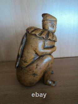 Anthropomorphic Tobacco Box Carved Xixth Popular Art