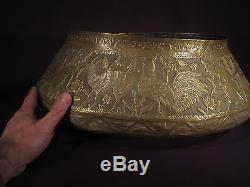 Antique Large Basin Tâs Oval Brass Repoussé Art Qajar Perse Ottoman XIX