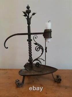 Antique Wrought Iron Candle Holder Former Candlestick Candlestick Rat Cellar Wrought Iron