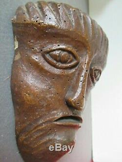 Archaic Medieval Head. Carved Wood Ht 17x10cm. Christ Suffering