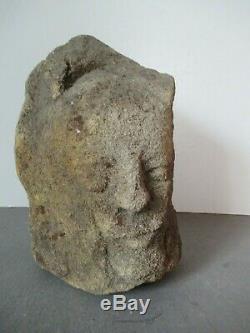 Archaic Medieval Head. Xiii-xiv. Cornerstone Ht 24cm. Base 12x9cm