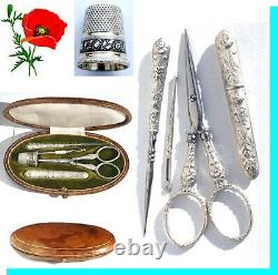 Argent Massif Ancient Sewing Necessary Art Nouveau Embroidery Scissors To Embroider