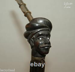 Beautiful 19th German Pipe With Three Sculpted Heads