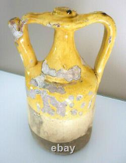 Beautiful And Rare Pichet, Cruche De Barque, Xixeme, Terre Cuite Vernissee Yellow
