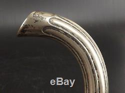 Beautiful Cane Pommeau Alpacca, Nickel Silver, Work Art Nouveau Ebony