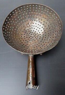 Beautiful Copper Colander Big Heart, Folk Art XIX