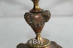 Beautiful Pair Of Altar Candlesticks In Gilt Bronze 19th, Flowers, Ram Heads