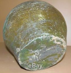 Big Beautiful Earth Jug Eighteenth Glazed Green Glaze Cooked Garden Collection