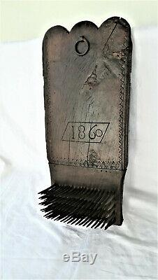 Big Board Carder Dated To 1860 Oak Carved Folk Art Britain Tool