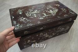 Box Box Wood Nacre Tonkin Chinese Large Mother Of Pearl Inlay Box