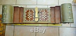 Box, Necessary Box Shoe Polisher Ottoman Persian Copper, Wood And Mother-of-pearl