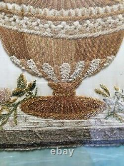 Brodery Ancienne Vase Of Flowers Point Of Chenille Époque Charles X Xix°
