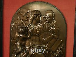 Bronze 44cm/28cm F. Barbedienne 19th Vierge À L'enfant Ste Anne Joachim Jesus