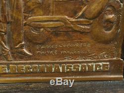 Bronze Plaque Massonet Work Vehicles Captain René Villemin Invalid Ww1