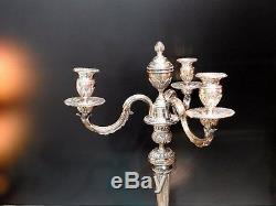 Candelabrum 3 Branches 4 Lights. Silver Bronze Candlestick. Stamped A. Mourier