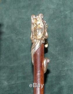 Cane Old Pommel Woman Art Nouveau Gilt Bronze Vintage Cane Old Stick