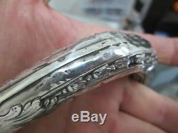 Cane Stick Solid Silver Pommel Punched Art Nouveau