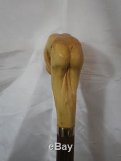 Cane Walking Naked Woman Carved Artist French Walking Stick Knob Cane