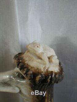 Cane Walking Pommel Antler Stick Head & Toad Carved In France
