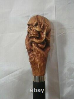 Cane Walking Stick Head Of Death Carved Artist French The Hand Of The Devil