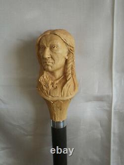 Cane Walking Stick Indian Head Carved Artist French Stick Cane