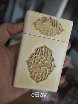 Case Card Holder Carved Chinese Old Canton Old Chinese Carved Bone Card Case