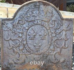 Cast Iron Fireplace Plate With Crown Decoration And Lily Flowers 56,5 X 56,5