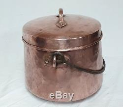 Cauldron Covered Copper Hammered Late 18 Th