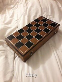 Chess Game With Box / Carved Pieces / Canton Balls