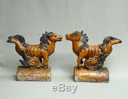 China Epoque Ming Pair Tile Faitiere, Terre Glaze Glazed Yellow Ocher