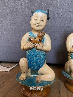China Epoque Ming, Paire Children Faïence, Vernissée