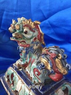 China Epoque Ming, Tuile Faitiere, Terre A Gla-ure Vernissée Celadon And Lapis Laz
