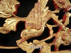 China Pediment Elements Late 19th Century Carved Wood Birds Flowered Gills