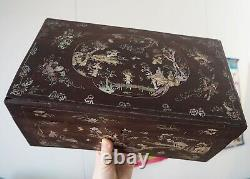 Coffret Boîte Bois Nacre Chinois Chinese Large Mother Of Pearl Inlayed Wood Box